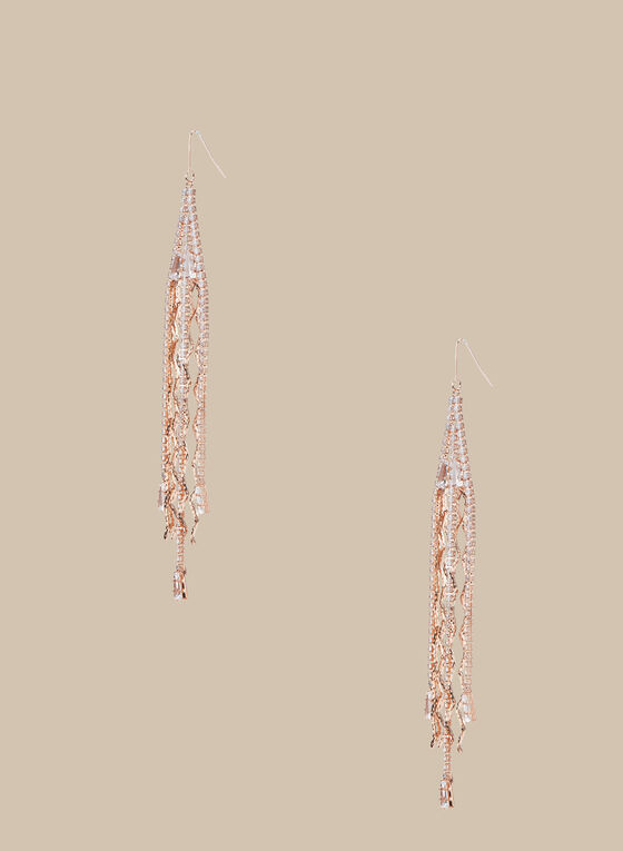 Crystal & Chain Cascade Earrings, Pink