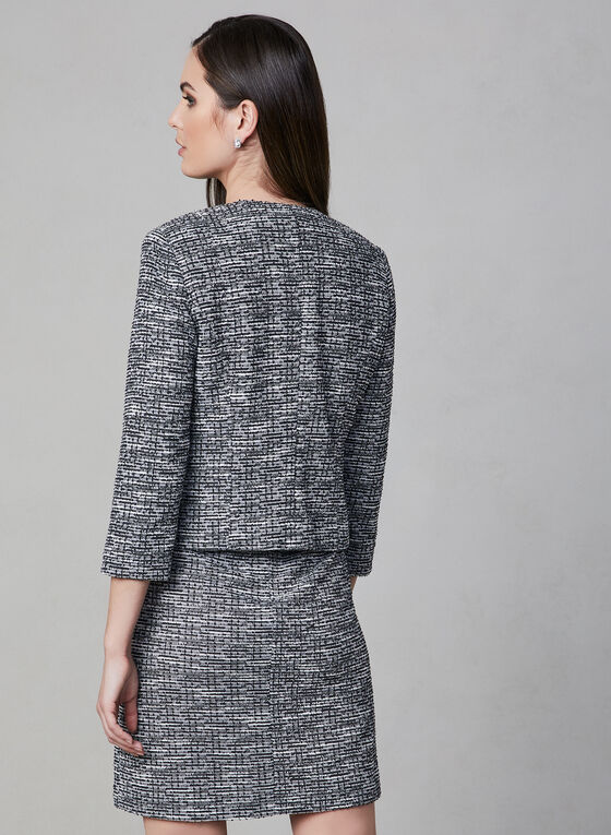 Karl Lagerfeld Paris - Blazer court en tweed, Noir, hi-res