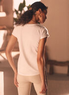 Sequin Detail Cotton Blend Tee, Off White