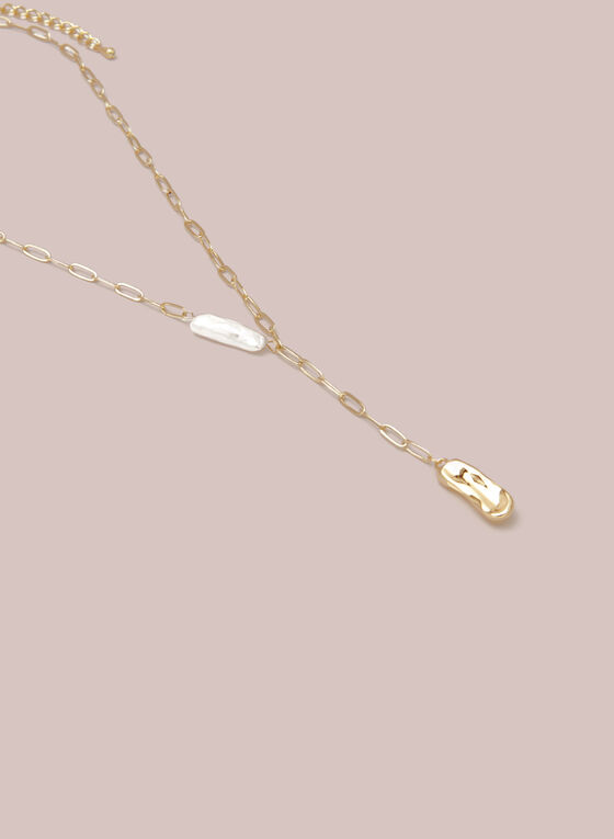 Collier à pendentif métallique et perle , Or