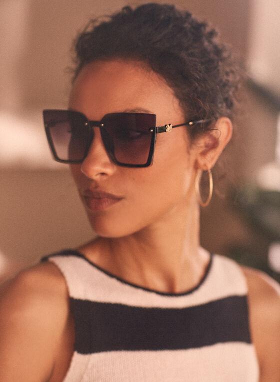 Oversize Square Sunglasses, Black