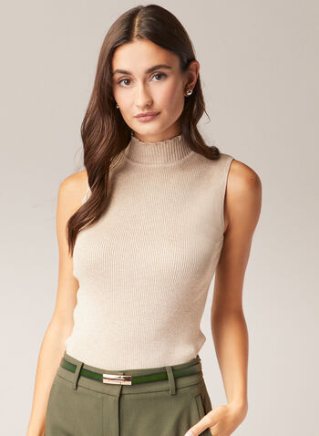 Mock Neck Sleeveless Sweater, Off White,  sweater, sleeveless, ribbed knit, mock neck, fall winter 2020