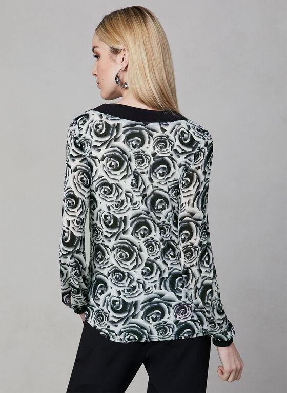 Floral Print V-Neck Top, White, hi-res