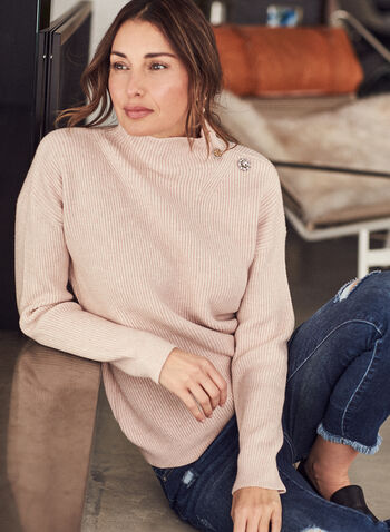 Button Detail Mock Neck Sweater, Pink,  sweater, button details, ribbed knit, long sleeves, fall winter 2020