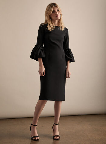Alton Gray - Ruffle Sleeve Dress , Black,  dress, little black dress, riffle sleeves, sheath, crepe, fall winter 2020