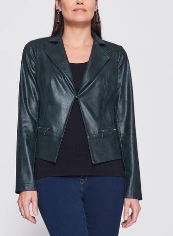 Vex - Veste aspect cuir avec détails zippés, Vert, hi-res