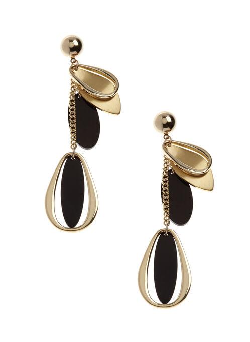 Geometric Leaf Dangle Earrings, Gold, hi-res