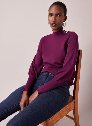 Button Detail Ruched Sleeve Sweater, Purple,  fall winte 2020, sweater, mock neck, ruched sleeve, knit, long sleeve, button detail, comfort, stretch, warm