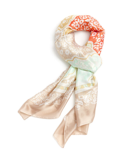 Damask Print Scarf, Orange, hi-res