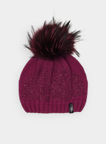 Glitter Knit Tuque, Purple,  acrylic tuque, knit, hat, tuque, glitter, glitter tuque, faux fur tuque, faux fur, fall 2019, winter 2019