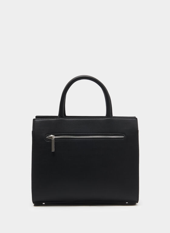 CÉLINE DION - Faux Leather Satchel, Black, hi-res