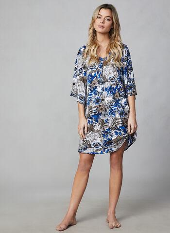 Robe de nuit à manches ange, Bleu, hi-res,  encolure V, imprimé floral, motif, motifs, fleurs, automne hiver 2019