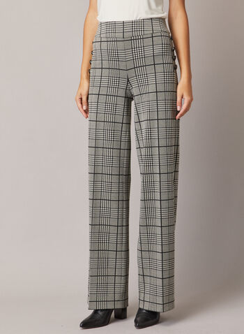 Prince of Wales Print Pants, Black,  fall winter 2020, pants, prince of Wales print, wide leg, buttons