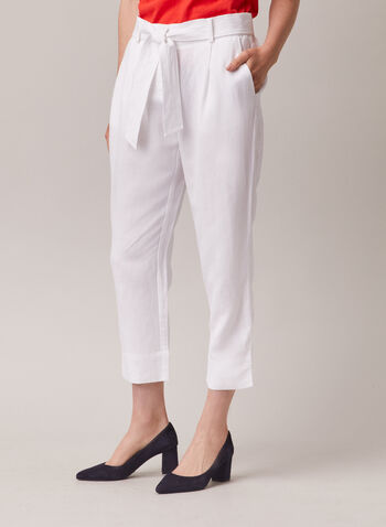 Linen Blend Belted Capri Pants, White,  capri, linen, belt, pockets, straight leg, spring summer 2020