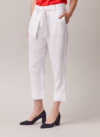 Capri en lin à ceinture, Blanc,  capri, lin, ceinture, jambe droite, poche, printemps été 2020
