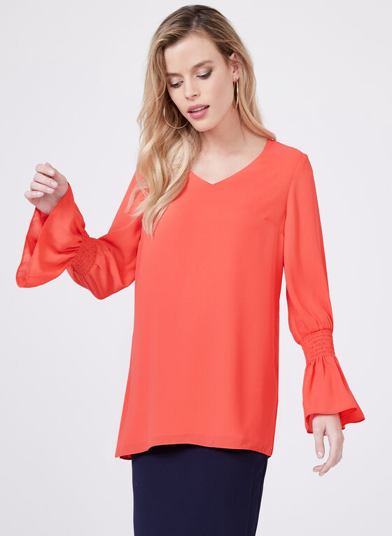 Shirred Bell Sleeve Blouse, Red, hi-res