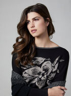 Vex - Floral Appliqué Jacquard Sweater, Black, hi-res