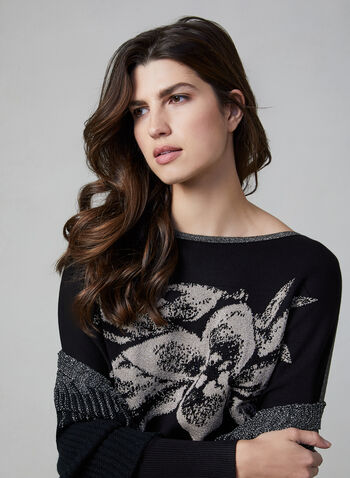 Vex - Floral Appliqué Jacquard Sweater, Black, hi-res,  sweater, jacquard, floral, crystal, glittery, long sleeves, knit, fall 2019, winter 2019