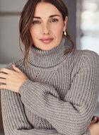Turtleneck Puff Sleeve Sweater, Grey
