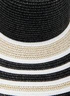 Stripe Print Large Straw Hat, Black, hi-res
