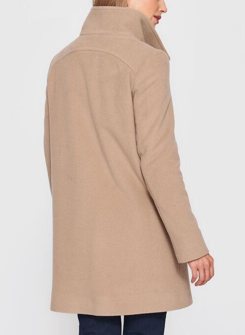 Mallia - Manteau en laine vierge à gros boutons, Brun, hi-res