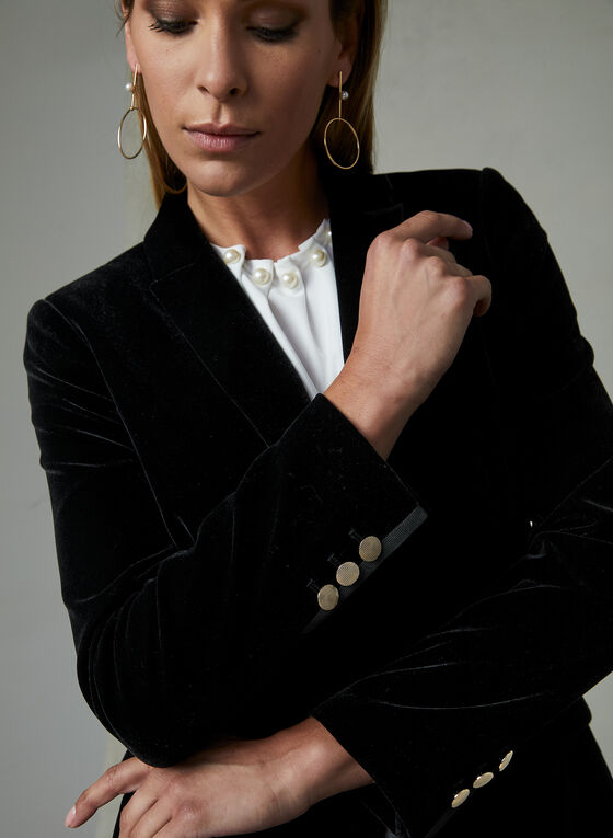 Velvet One Button Blazer, Black, hi-res