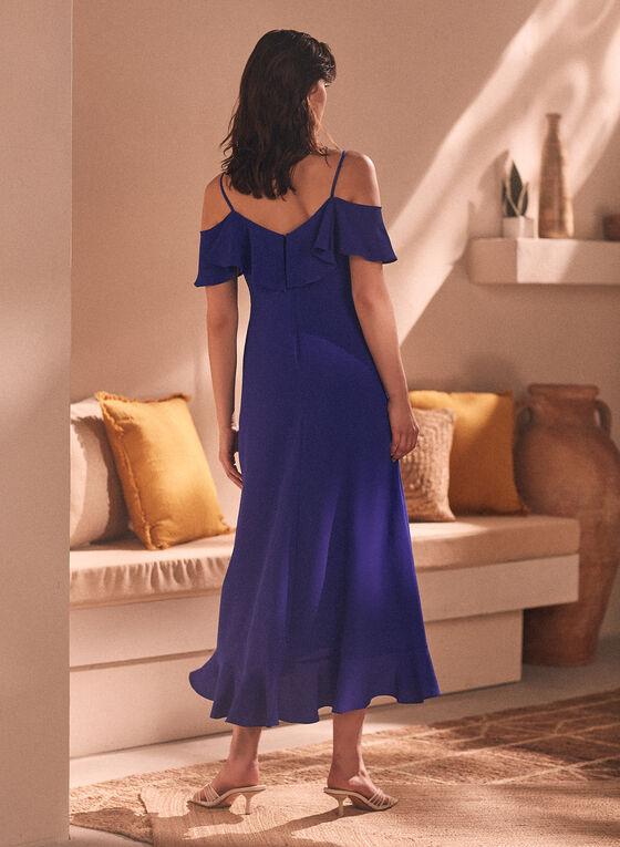 Maggy London - Robe longue à manches courtes ajourées, Bleu