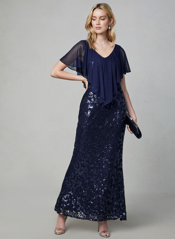 Marina - Sequin Lace Popover Dress, Blue