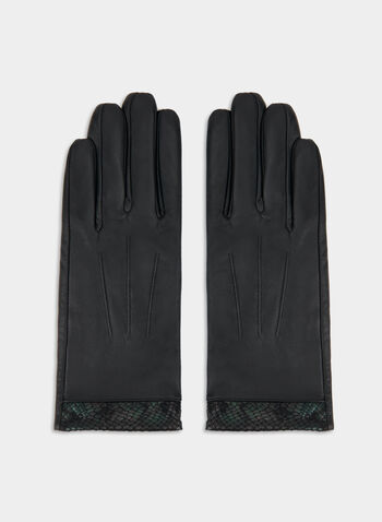 Gants en cuir et bordure serpent, Noir,  canada, leather, gloves, classy, snakeskin trim, fall 2019, winter 2019