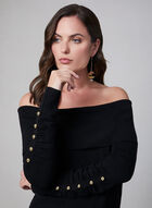 Off-the-Shoulder Sweater, Black, hi-res