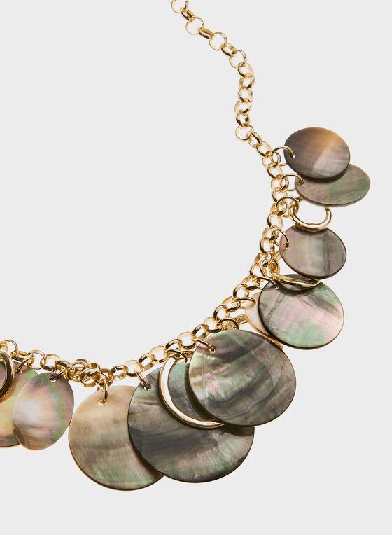 Collier chaîne à pierres marbrées circulaires, Blanc cassé, hi-res