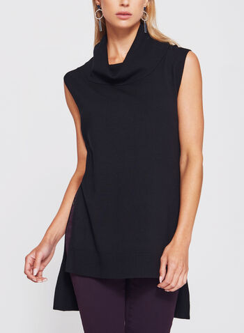 Conrad C - Sleeveless Cowl Neck Knit Tunic , Black, hi-res