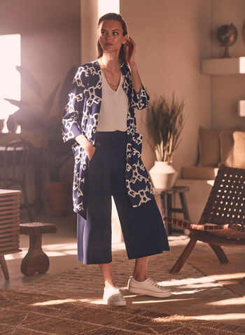 Chain Print 3/4 Sleeve Jacket, Blue,  jacket, duster, open front, 3/4 sleeves, chain print, pockets, spring summer 2021