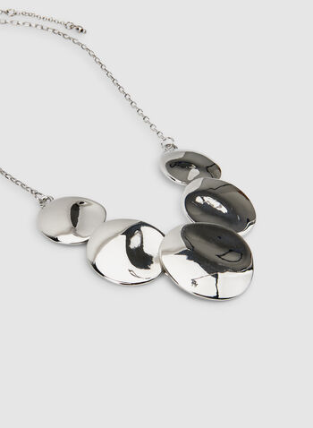 Hammered Metal Pendant Necklace, Silver, hi-res,  short necklace, chain necklace