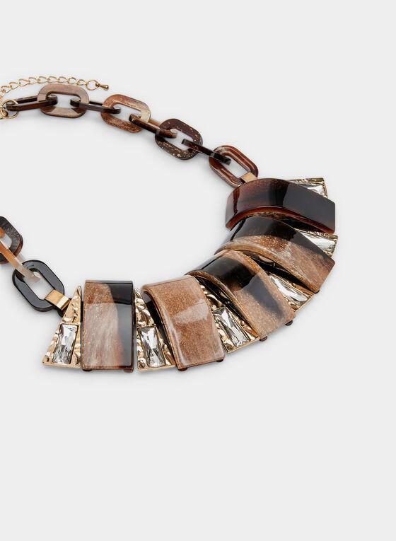 Chain Link Bib Necklace, Brown