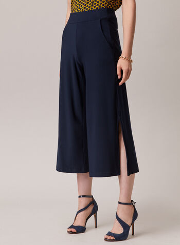 Slit Hem Gaucho Pants, Blue,  pants, gaucho, slit, pull-on, wide leg, spring summer 2020