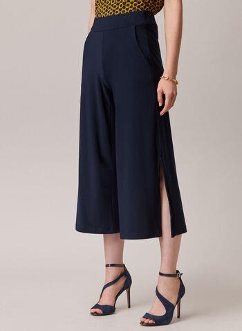 Pantalon gaucho à fentes, Bleu,  pantalon, gaucho, pull-on, jupe-culotte, fente, poche, printemps été 2020