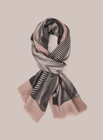 Geometric Print Scarf, Pink,  Fall winter 2020, hem fringe, fringe, contrast, abstract, print