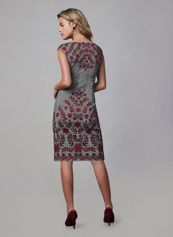Robe motif fleurs et Prince-de-Galles, Noir