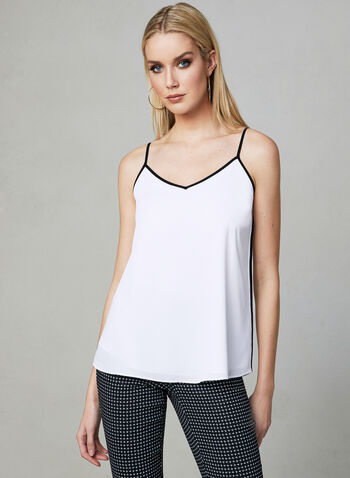 Sleeveless Crepe Top, White, hi-res