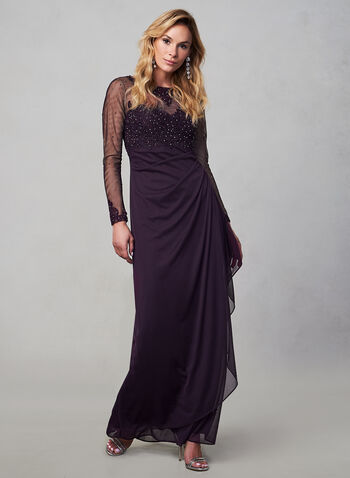 BA Nites - Long Sleeve Mesh Dress, Purple, hi-res,  fall winter 2019, long sleeves, BA Nites, mesh