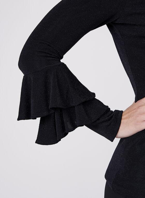 Frank Lyman- Metallic Long Sleeve Top, Black, hi-res