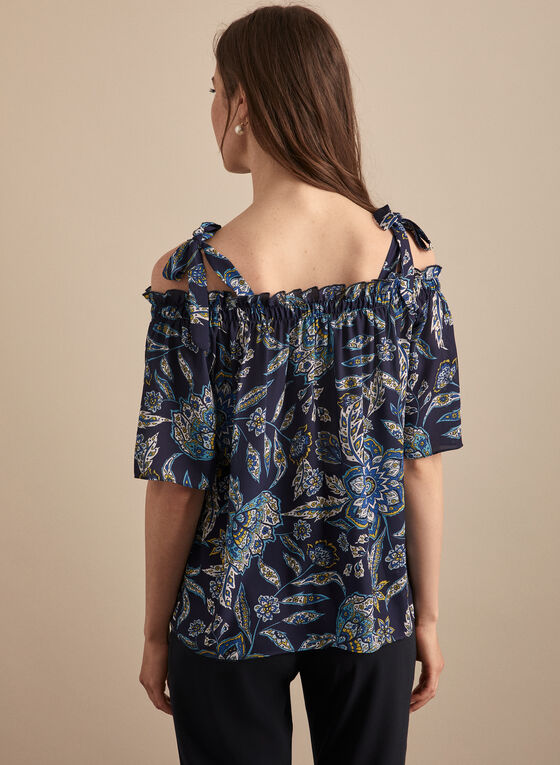 Floral Off-the-Shoulder Blouse, Blue