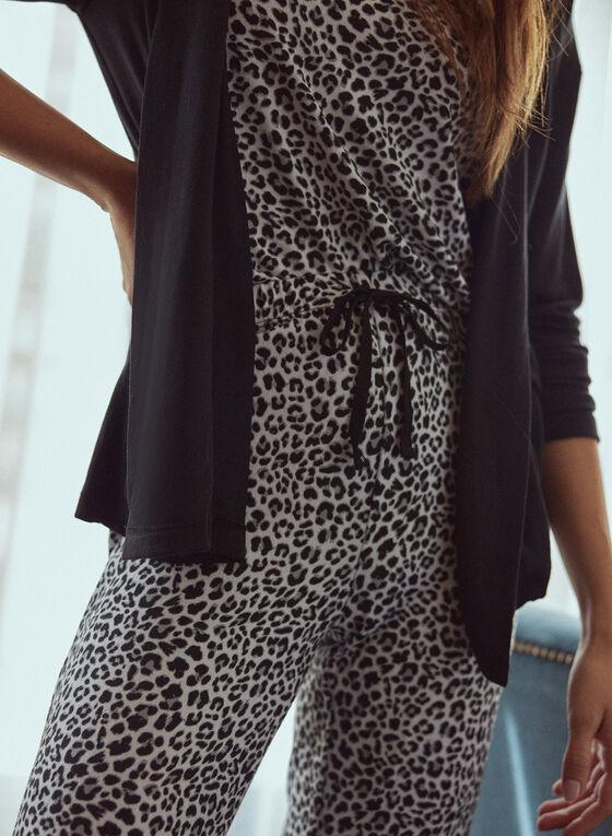 3-Piece Animal Print Pyjama Set, Black