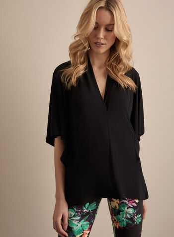 Joseph Ribkoff - Jersey Kimono Top, Black,  top, kimono, jersey, v neck, 3/4 sleeves, spring summer 2020
