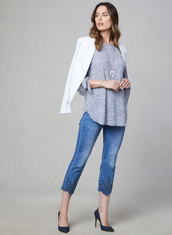 Pure Essence - Stripe Print ¾ Sleeve Top, Blue, hi-res,  tie detail, ¾ sleeves, 3/4 sleeves, spring 2019