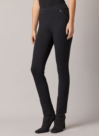Joseph Ribkoff - Vegan Leather Detail Leggings, Black,  leggings, slim leg, pull-on, ponte di roma, fall winter 2020