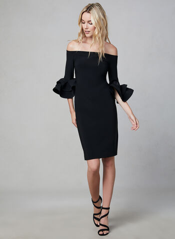 Joseph Ribkoff - Large Ruffle Sleeves Dress, Black, hi-res,  off-the-shoulder, ruffle sleeves, elastic neckline, fall 2019, winter 2019