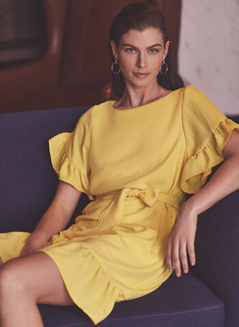 Joseph Ribkoff - Boat Neck Ruffle Trim Dress, Yellow,  dress, day, ruffled, boat neck, crinkled, sash, belt, ribkoff, lyman, made in Canada, spring summer 2021