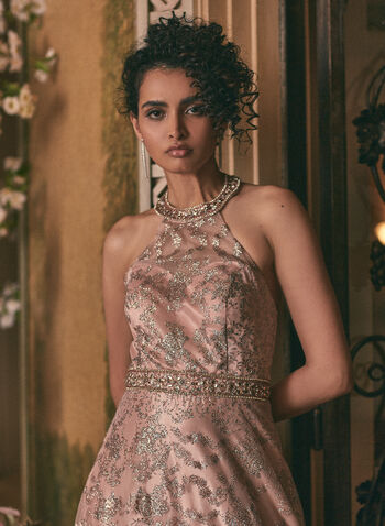 Cachet - Floral Glitter Ball Gown, Pink,  prom dress, ball gown, rhinestones, glitter, halter neck, open back, lace-up, mesh, crinoline, floral, spring summer 2020
